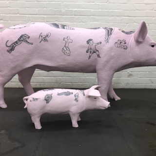 Tattooed Pig after Andy Feehan and Wim Delvoye, 2019