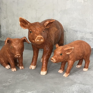 Bedtime Stories - Three Little Pigs Tricolor-glazed Pottery of the Tang Dynasty Version